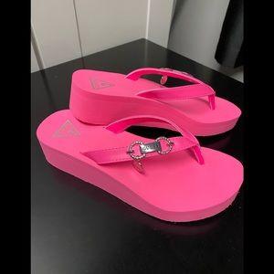 Guess hot pink flip flops